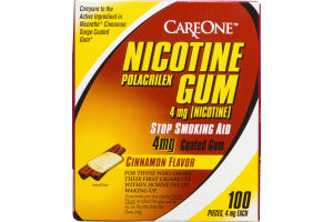CareOne Nicotine Polacrilex 4mg Gum Cinnamon - 100 CT