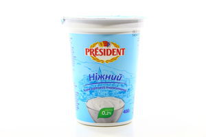 Крем творожный нежный 0% стак President 400г