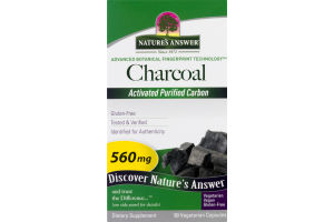 Nature's Answer Charcoal 560mg Vegetarian Capsules - 90 CT