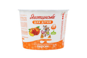 Паста сиркова 4,2% персик Яготинське для дітей п/б 100г