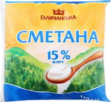 Сметана 15% Галичанська м/у 370г