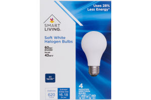 Smart Living Soft White Halogen Bulbs 60 Watt - 4 CT