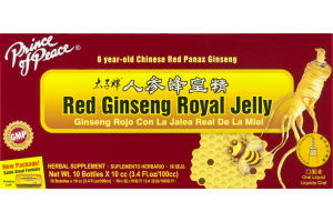 Prince of Peace Red Ginseng Royal Jelly Herbal Supplement Bottles - 10 CT