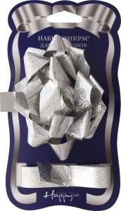 Набір прикрас для подарунка бантик Гелексі+стрічка 18ммx1м №CDP155 Happycom 1шт