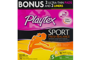 Playtex Sport Fresh Balance Plastic Tampons Lightly Scented Regular/Super - 32 CT