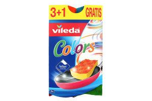 Губка для тефлону Пур Актів Колор (PurActive Dish Sponge ColorPur Active Colors), 3+1 шт