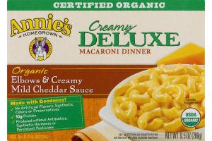 Annie's Homegrown Organic Creamy Deluxe Elbows & Creamy Mild Cheddar Sauce Macaroni Dinner