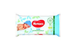 Серветки вологі багатошарові для дітей Biodegradable Pure Huggies 56шт