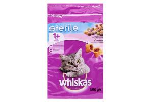 Корм сухой для взрослых стерилизованных кошек и кастрированных котов с лососем Whiskas м/у 350г
