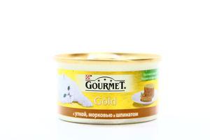 Корм для котов утка-морковь-шпинат по-французски жестяная банка ключ Gourmet gold 85г