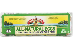 Land O'Lakes All-Natural Eggs Extra Large Grade A Brown - 12 CT