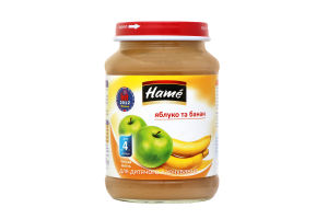 Пюре для дітей від 4міс Яблуко та банан Hame с/б 190г