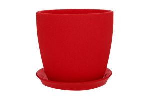 Горшок Сонет шелк керамика красный 15*14,5*2,0