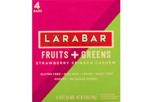 Larabar The Original Fruit & Nut Food Bar Fruit + Greens Strawberry Spinach Cashew - 4 CT