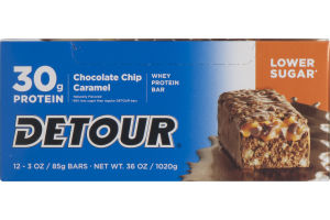 Detour 30g Protein Whey Protein Bar Lower Sugar Chocolate Chip Caramel - 12 CT