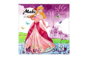 Салфетка бумажнаяMaki с рисунком 3-сл M-06
