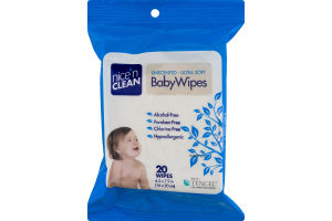 Nice 'N Clean Baby Wipes Unscented - 20 CT