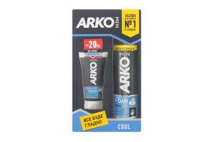Подарунковий набір ARKO MEN Піна для гоління Cool 200мл та крем після гоління Cool 50мл зі знижкою 20%