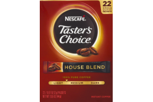 Nescafe Taster's Choice Instant Coffee House Blend Single Serve Packets - 22 CT