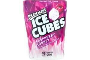 ICE BREAKERS ICE CUBES Sugar Free Raspberry Sorbet Gum, 40 Pieces, 3.24 oz
