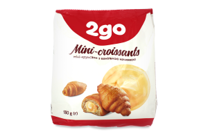 Міні-круасани з ванільною начинкою 2go м/у 180г