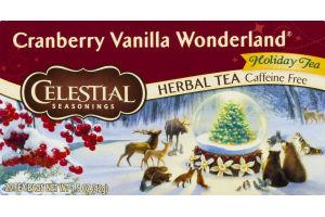 Celestial Seasonings Caffeine Free Herbal Tea Bags Cranberry Vanilla Wonderland - 20 CT