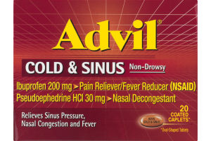 Advil Cold & Sinus Non-Drowsy Coated Caplets - 20 CT