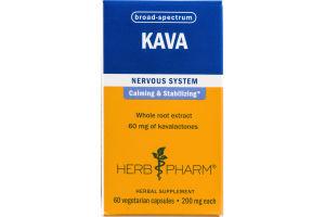 Herb Pharm KAVA Nervous System Herbal Supplement Vegetarian Capsules - 60 CT