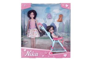 Набір ляльковий для дітей від 3років з візочком та аксесуарами Ніка та Кіра На прогулянці Numo Toys 1шт
