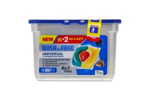 Засіб для прання у вигляді капсул з господарським милом Universal Wash&Free 17шт