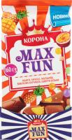 Шоколад молочний з фруктовими шматочками зі смаком манго, ананаса, маракуї, з шипучими рисовими кульками і вибуховою карамеллю Max Fun Корона м/у 160г