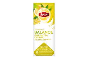 Чай зеленый байховый с цедрой цитрусовых в пакетиках Citrus Lipton к/у 25х1.3г