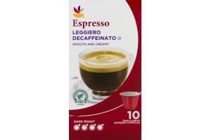 Ahold Espresso Dark Roast Leggiero Decaffeinato - 10 CT