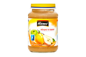 Пюре для дітей від 4міс Яблуко та груша Hаme с/б 190г