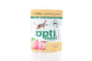 Корм для котов Защита иммунитета телятина в клюквенном соусе мягкая упаковка Optimeal 85г