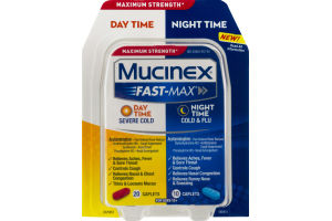 Mucinex Fast-Max Day Time Severe Cold/Night Time Cold & Flu Caplets - 30 CT