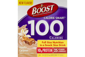 Boost Carlorie Smart 100 Calories Nutrition Drink Vanilla Caramel - 4 CT
