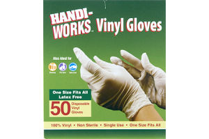 Handi-Works One Size Latex Free Disposable Vinyl Gloves - 50 CT