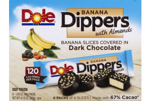 Dole Banana Dippers with Almonds Covered in Dark Chocolate - 6 CT