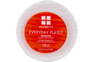 Essential Home Everyday Plates Uncoated 6 IN - 100 CT