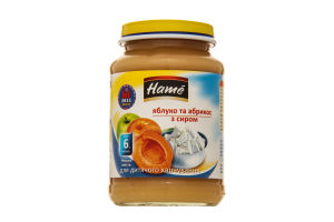 Пюре для дітей від 6міс Яблуко та абрикос з сиром Hame с/б 190г