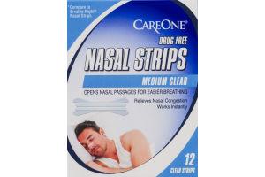 CareOne Drug Free Nasal Strips Medium Clear - 12 CT