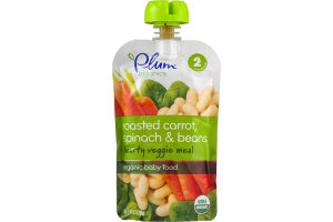 Plum Organics Organic Baby Food Roasted Carrot, Spinach & Beans Stage 2