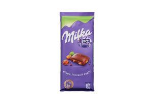 Шоколад молочний з цілим лісовим горіхом Milka 90г