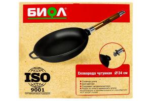 Сковорода чавунна Біол зі змінною ручкою без кришки Оптіма 24см 0124