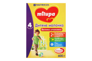 Суміш молочна суха для дітей від 18міс Дитяче молочко 4 Milupa к/у 600г