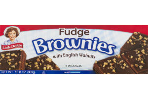 Little Debbie Fudge Brownies with English Walnuts - 6 CT