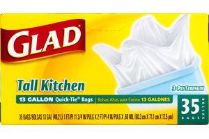 Glad Tall Kitchen Quick-Tie Trash Bags, 13 Gallon, 35 Count