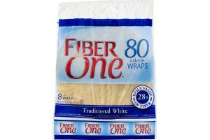 Fiber One Wraps Honey Traditional White - 8 CT
