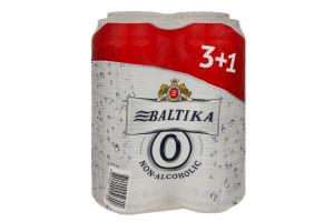 Пиво 4*0.5л Безалкогольное №0 Балтика ж/б